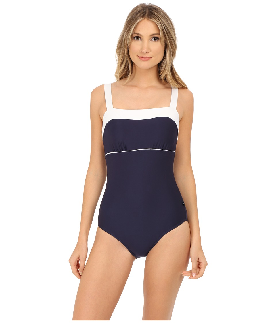 Nautica Signature Classic Soft Cup One Piece NA27556 Navy Womens Swimsuits One Piece