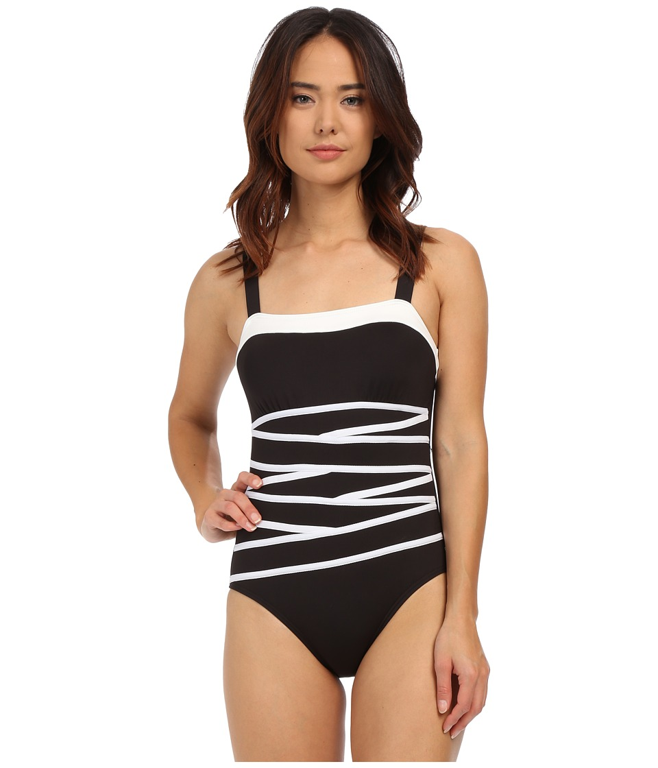 Nautica Signature Rem Soft Cup One Piece with Strapping Detail NA27576 Black Womens Swimsuits One Piece
