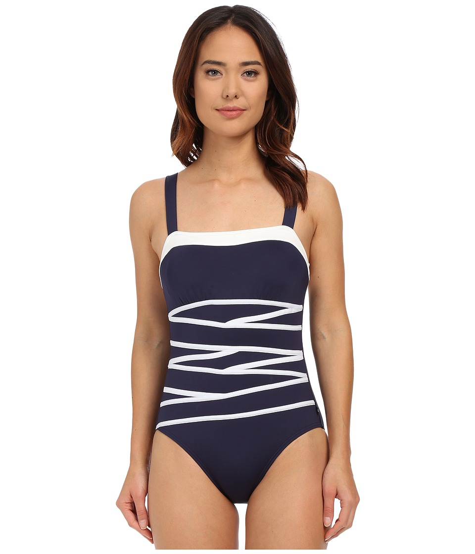 Nautica Signature Rem Soft Cup One Piece with Strapping Detail NA27576 Navy Womens Swimsuits One Piece