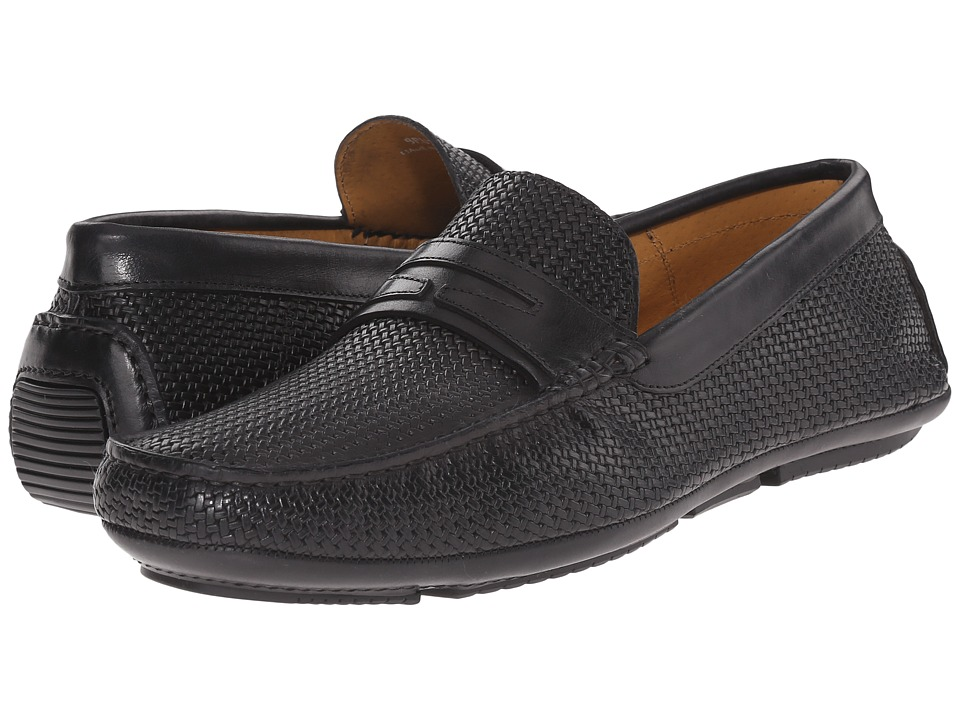 Aquatalia Bruce Black Woven/Calf Mens Slip on Shoes