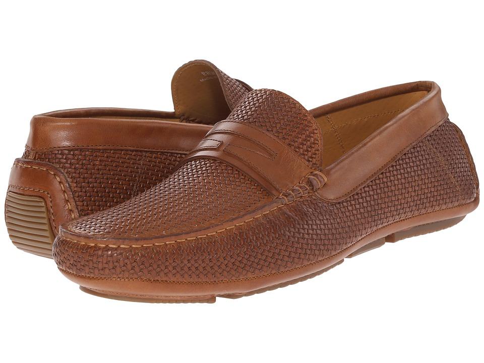 Aquatalia Bruce Cognac Woven/Calf Mens Slip on Shoes