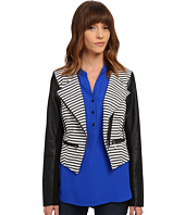 XOXO - Stripe Jacket w/ Leather Sleeves