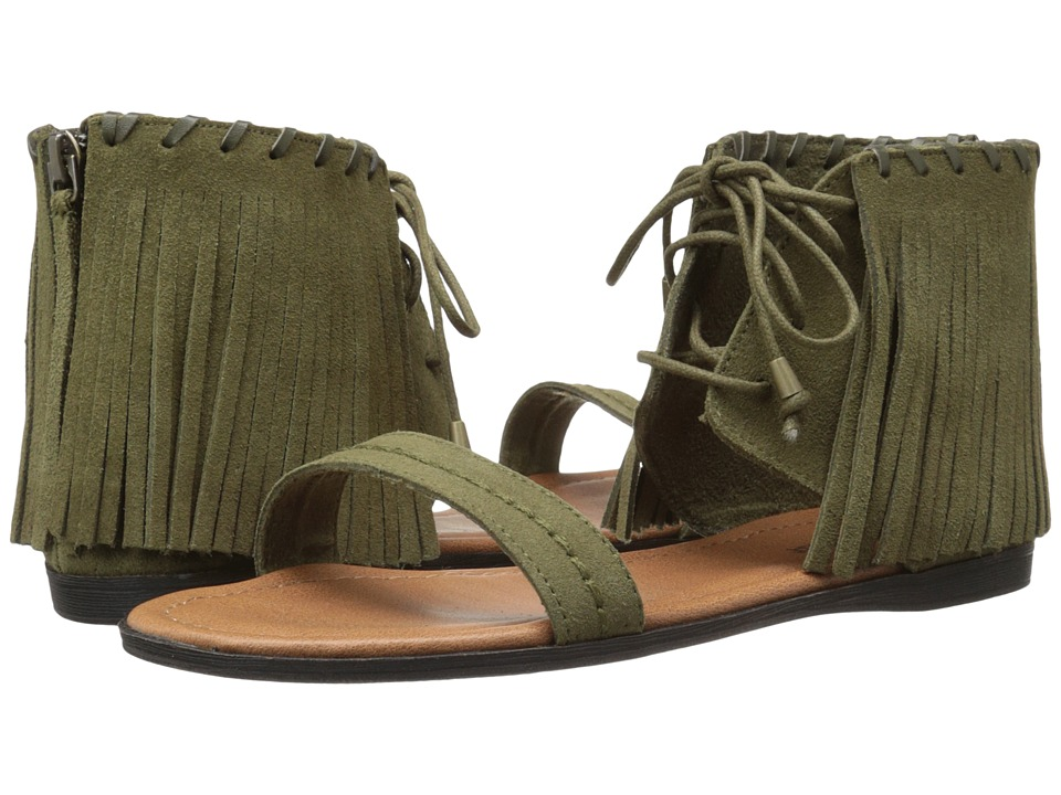 Minnetonka Havana Loden Green Suede Womens Sandals