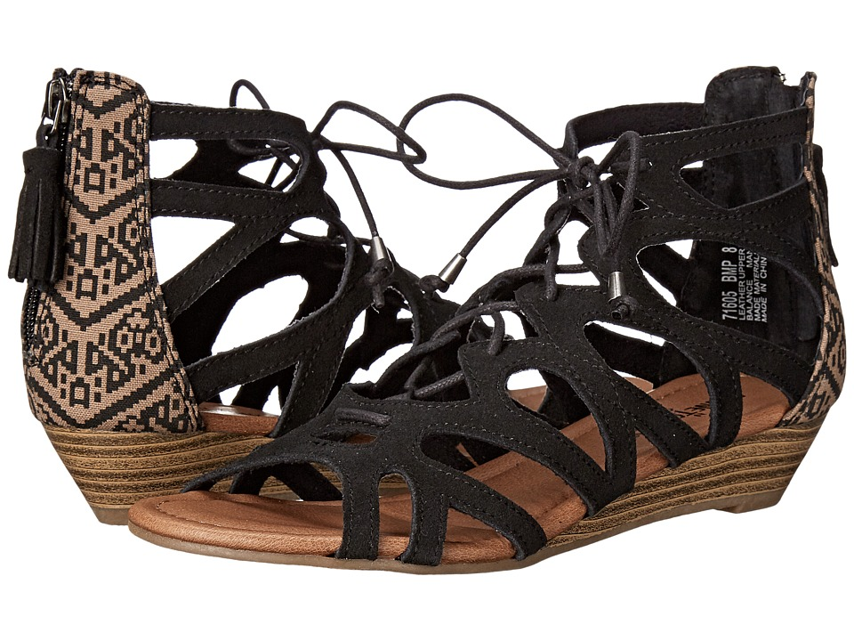 Minnetonka Merida II Black Suede/Black Mesa Fabric Womens Flat Shoes
