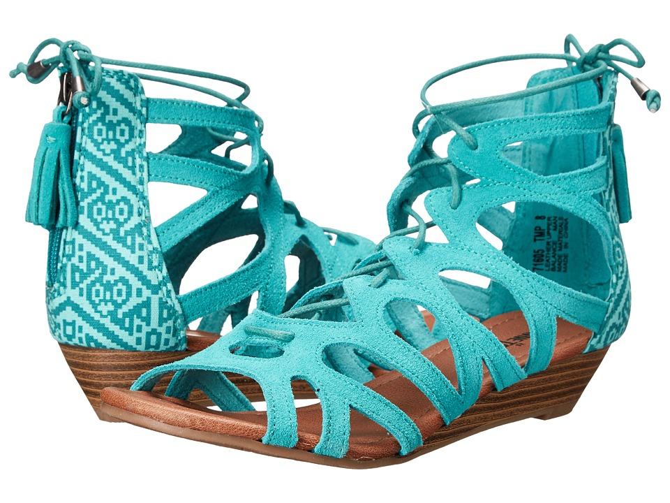 Minnetonka Merida II Turquoise Suede/Turquoise Mesa Fabric Womens Flat Shoes