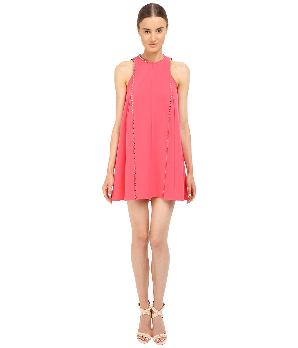 Versace Collection Coral A Line Dress with Hardware Detail Pink Womens Dress