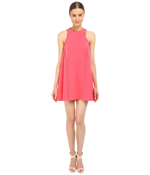 Versace Collection Coral A-Line Dress with Hardware Detail