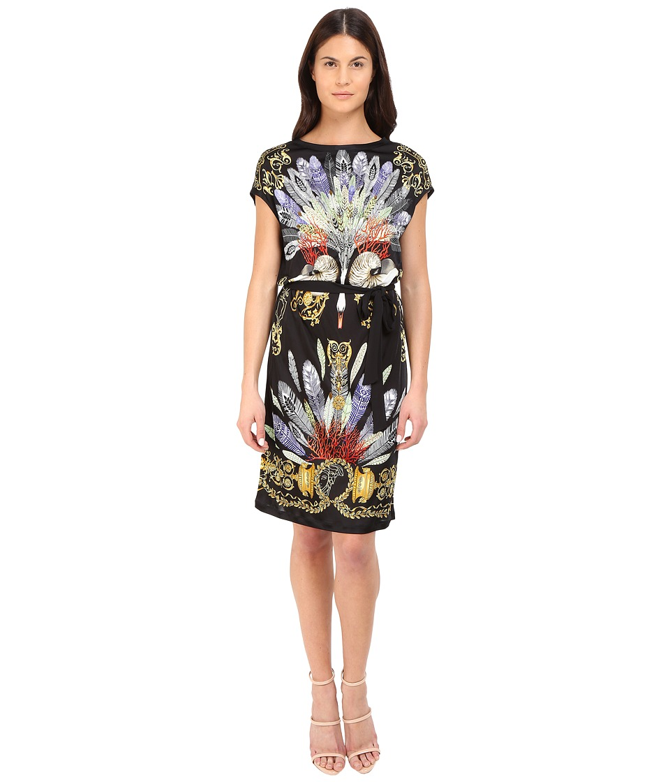 Versace Collection Black Swan Printed Tubino Multi Womens Dress