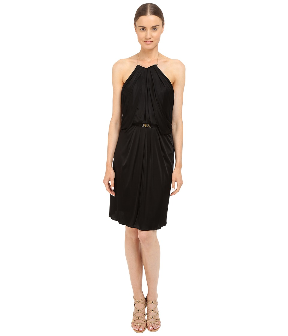 Versace Collection Satin Halter Dress w/ Chain Detail Black Womens Dress