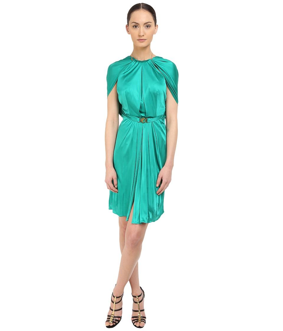 Versace Collection Emerald Satin Halter Dress w/ Chain Detail Green Womens Dress