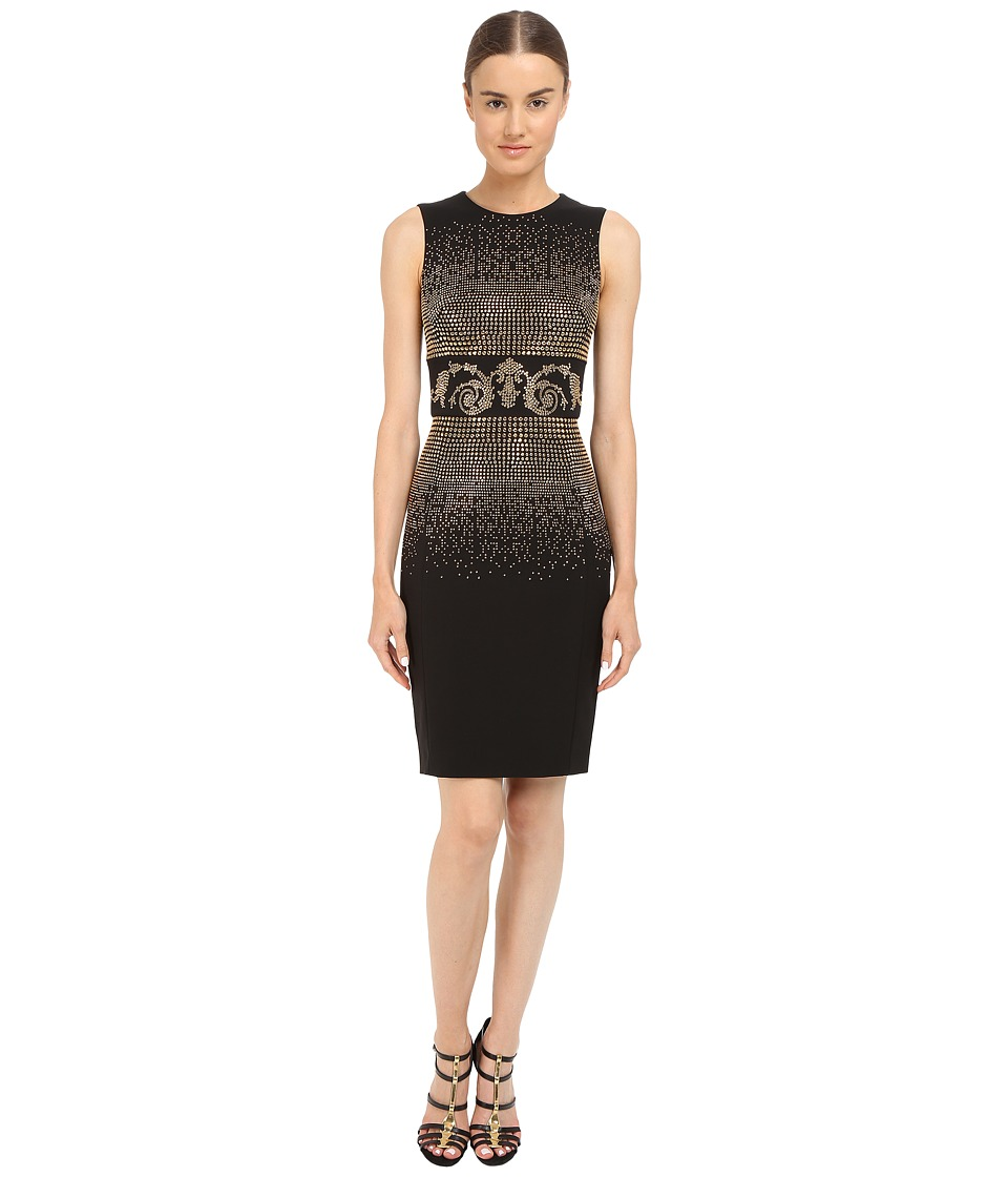 Versace Collection Black and Gold Embellished Tubino Dress Black Womens Dress
