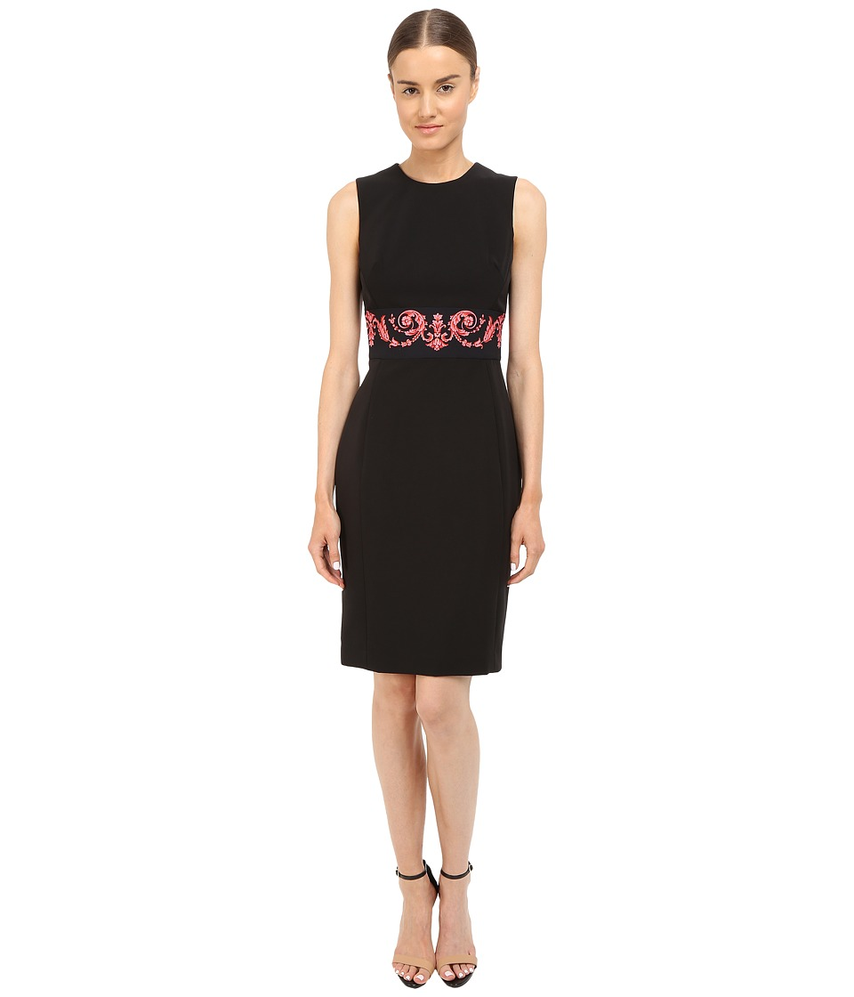Versace Collection Tubino Dress with Pink Wasted Print Black Womens Dress