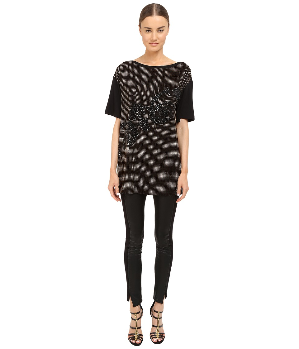 Versace Collection Black and Gold Embellished Jersey Tunic Black Womens Blouse