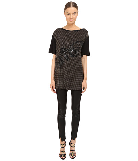Versace Collection Black and Gold Embellished Jersey Tunic