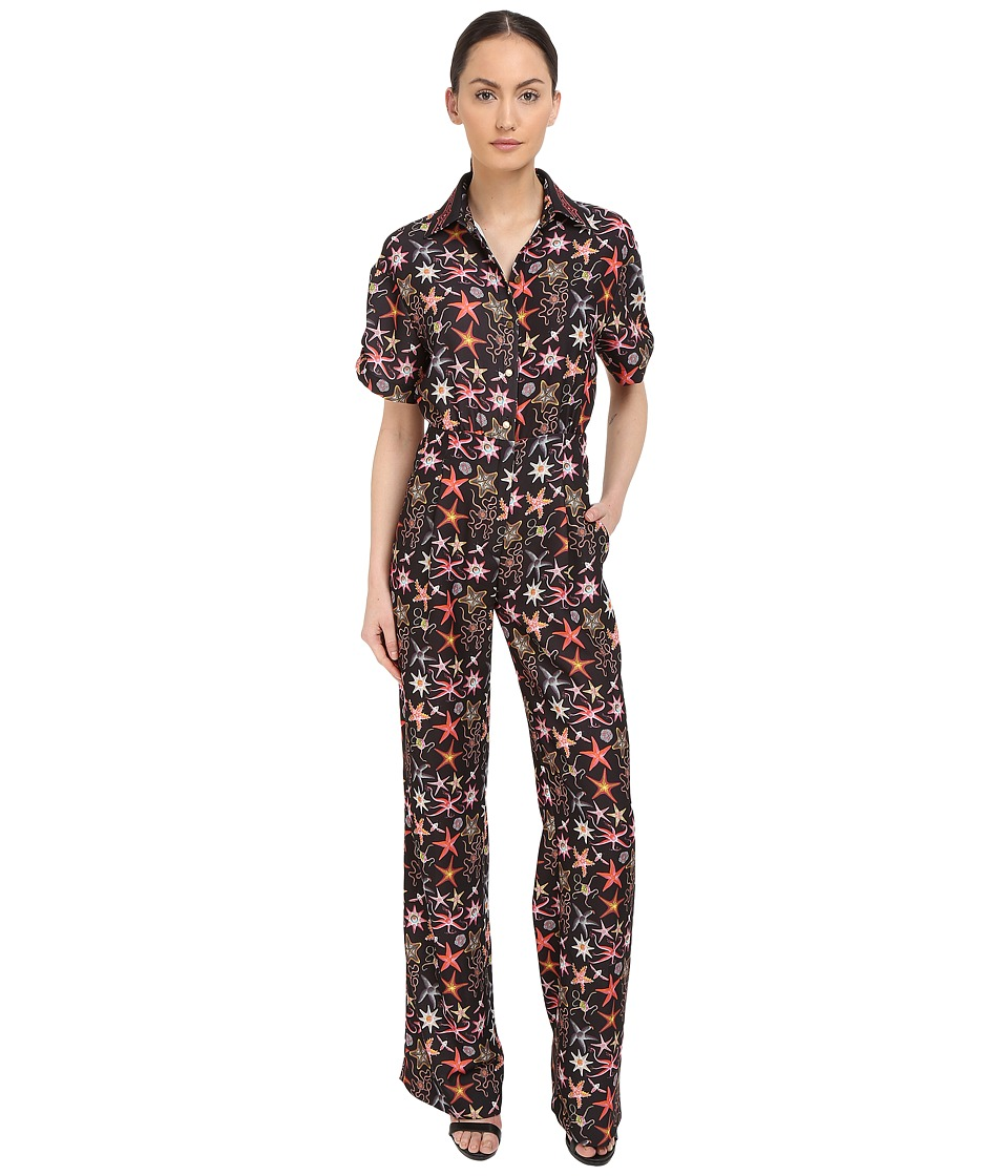 Versace Collection Black Starfish Printed Jumpsuit Multi Womens Jumpsuit Rompers One Piece