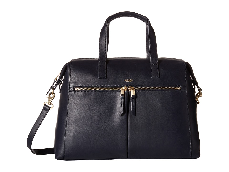 KNOMO London - Audley Leather Slim Laptop Tote (Navy) Tote Handbags
