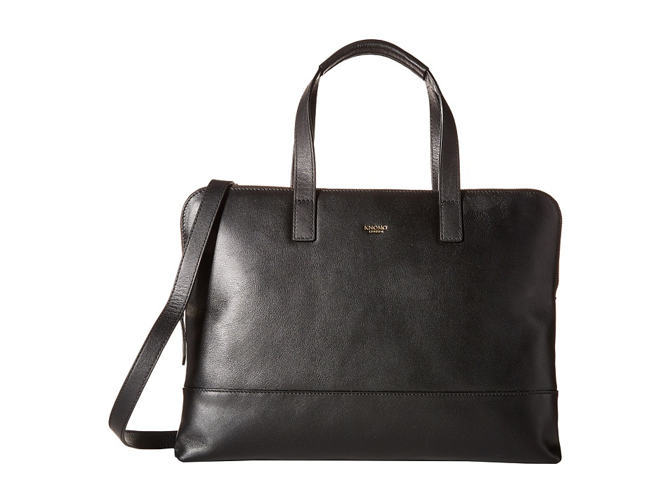 KNOMO London - Reeves Slim Laptop Briefcase (Black) Briefcase Bags