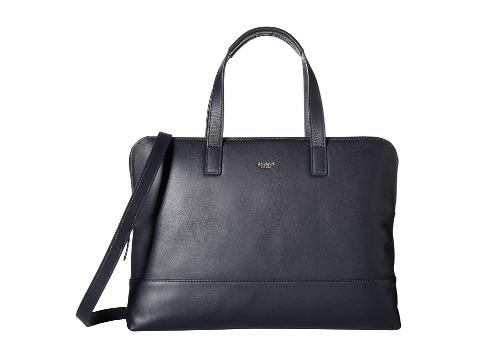 KNOMO London - Reeves Slim Laptop Briefcase (Navy) Briefcase Bags