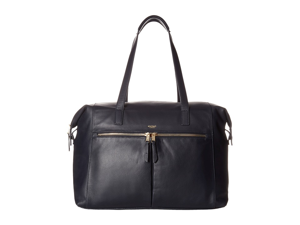 KNOMO London - Curzon Laptop Leather Shoulder Tote (Navy) Tote Handbags