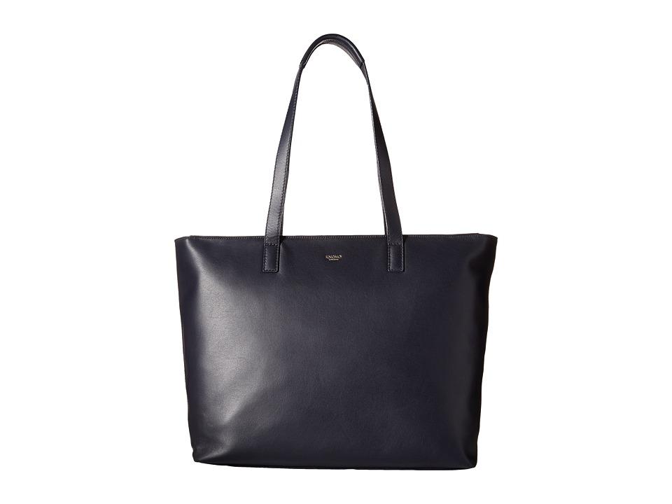 KNOMO London - Maddox Laptop Leather Zip Tote (Navy) Tote Handbags