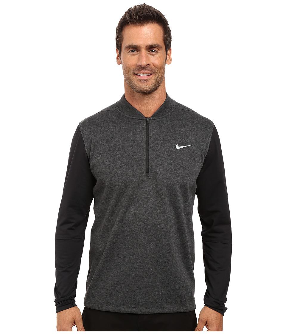 Nike Golf Tiger Woods Sweater Tech 1/2 Zip (Black Heather/Black/Black/Reflective Silver) Men