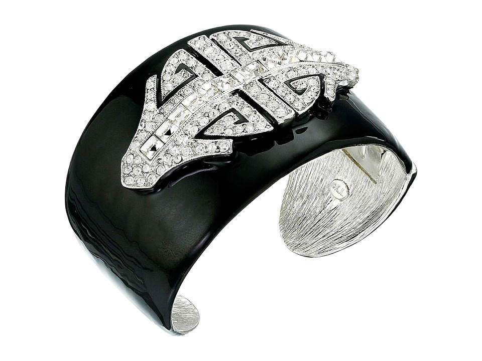 Kenneth Jay Lane - Black Enamel with Rhodium and Rhinestone Deco Cuff Bracelet (Black/Crystal) Bracelet
