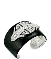 Kenneth Jay Lane - Black Enamel with Rhodium and Rhinestone Deco Cuff Bracelet