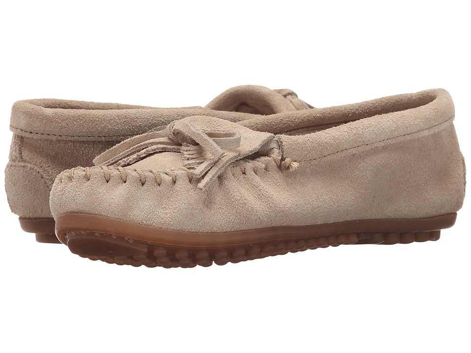 Minnetonka Kilty Moc Stone Suede Womens Shoes