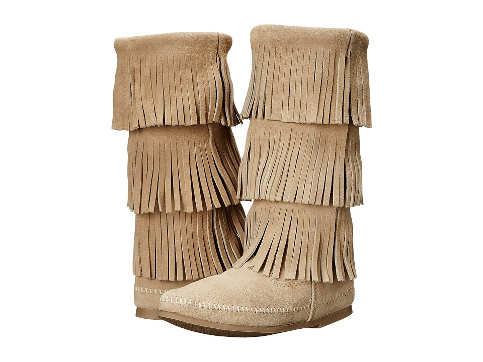 Minnetonka 3-Layer Fringe Boot (Stone Suede) Women
