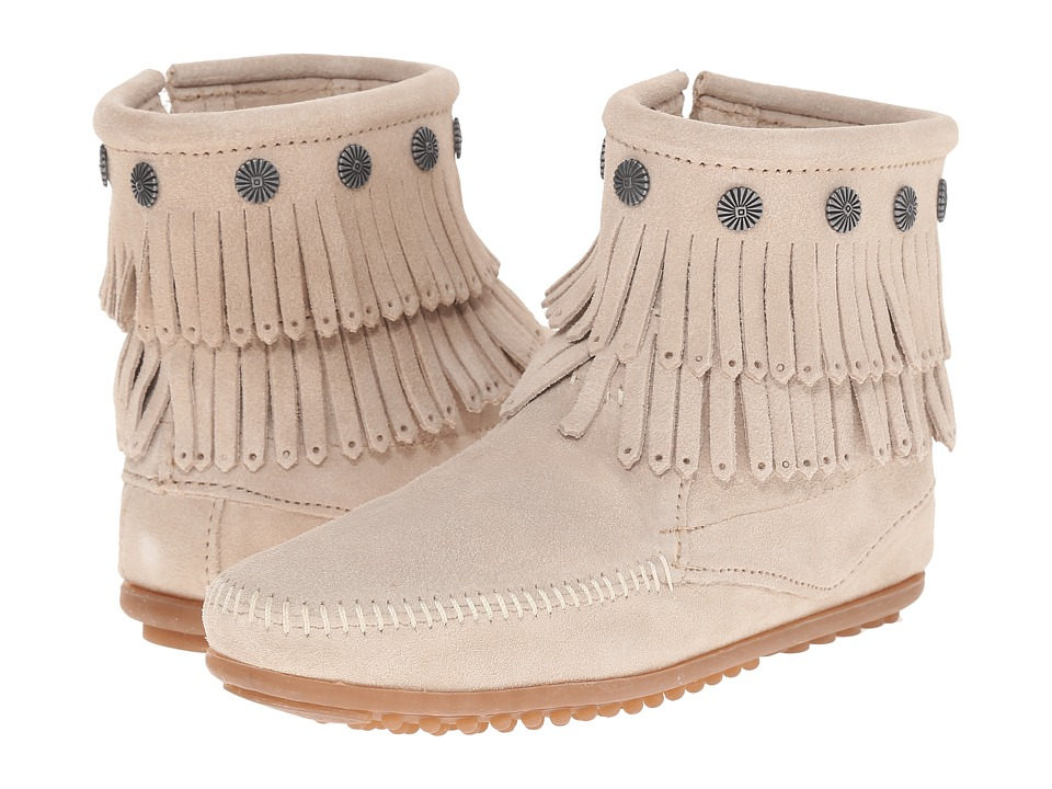 Minnetonka Double Fringe Side Zip Boot (Stone Suede) Women