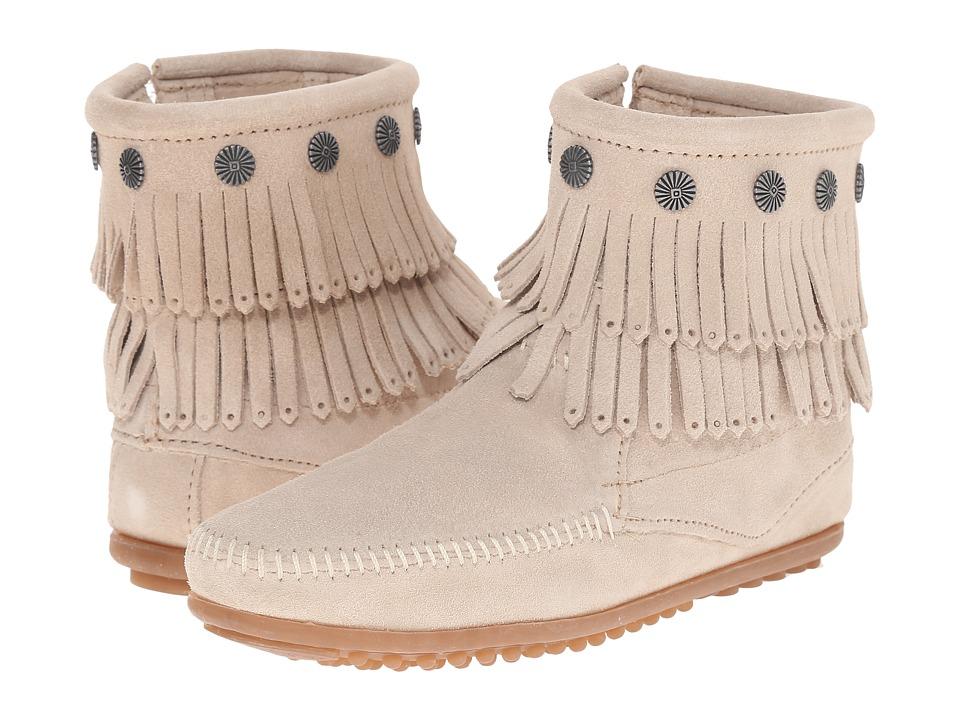 Minnetonka Double Fringe Side Zip Boot (Stone Suede)