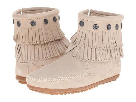 Minnetonka Double Fringe Side Zip Boot - Stone Suede
