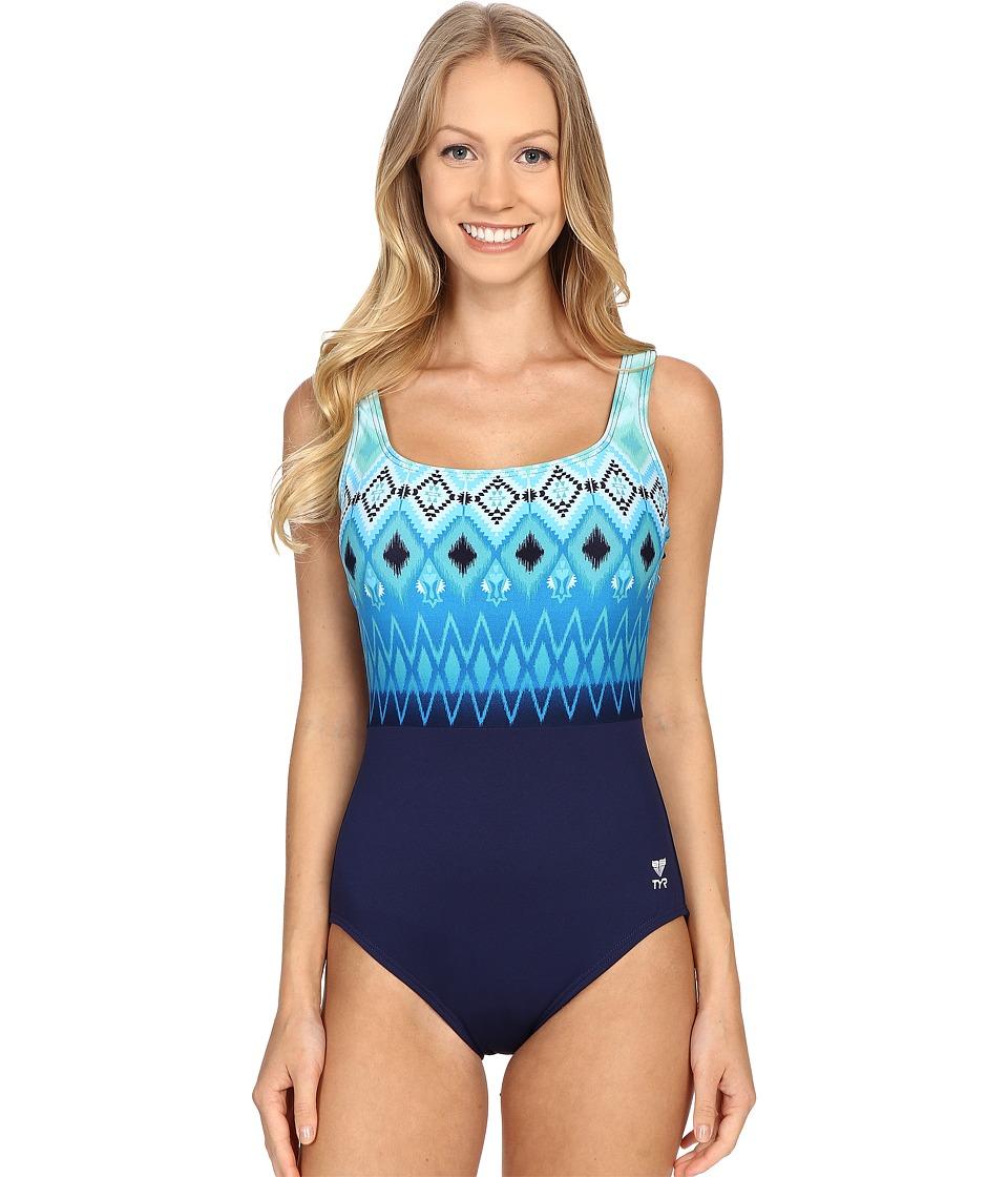 TYR Baltic Stripe Aqua Controlfit Navy/Turquoise Womens Swimwear