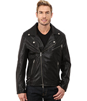 DKNY Jeans - Washed Leather Biker Jacket - Black Capsule