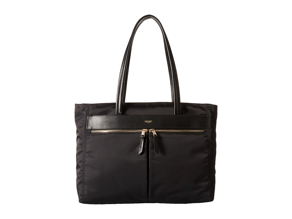 KNOMO London - Grosvenor East/West Top Zip Laptop Tote (Black) Tote Handbags