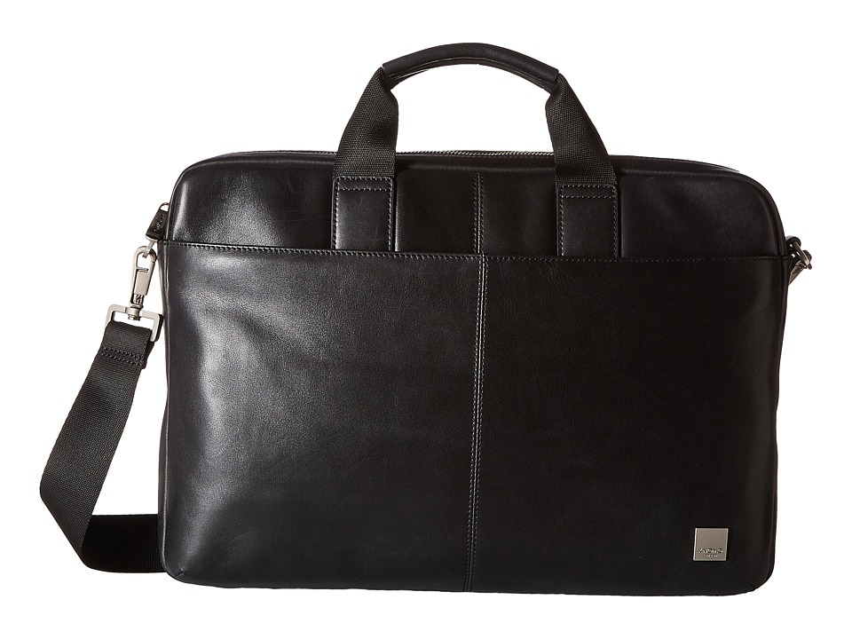 KNOMO London - Durham Leather Slim Laptop Briefcase (Black) Briefcase Bags