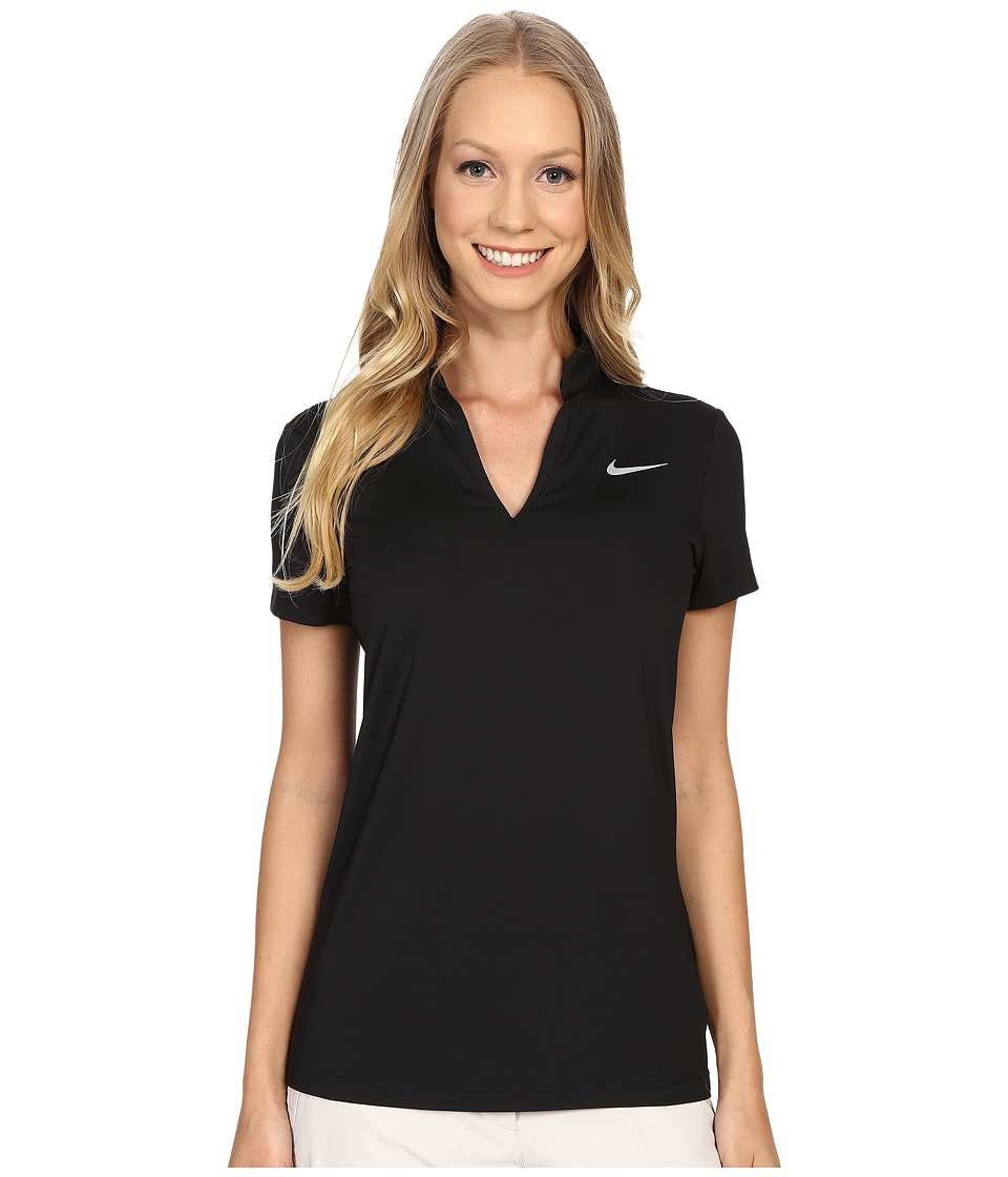 Nike Golf Ace Melt Away Polo Black/Reflective Silver Womens Short Sleeve Pullover