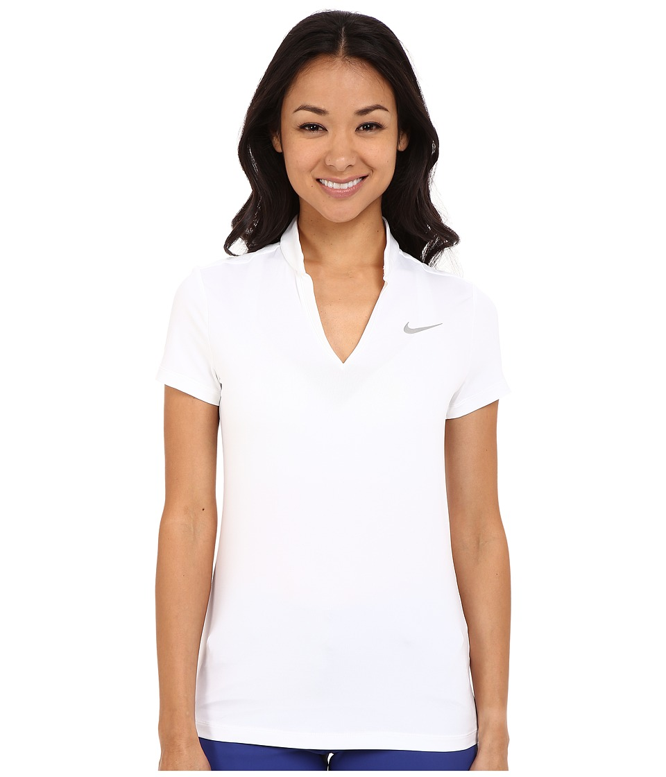 Nike Golf Ace Melt Away Polo White/Reflective Silver Womens Short Sleeve Pullover