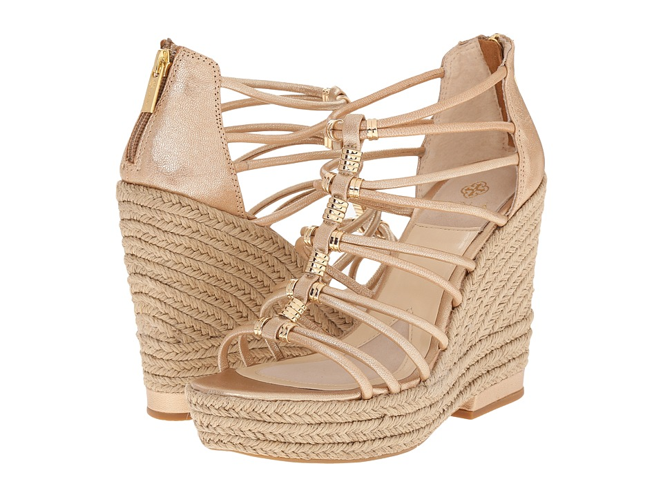 Isola Yara Gold Grid Metallic Womens Wedge Shoes
