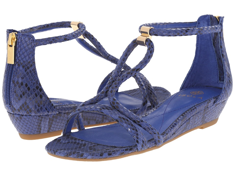 Isola Elin Electric Blue Snake Print Womens Wedge Shoes