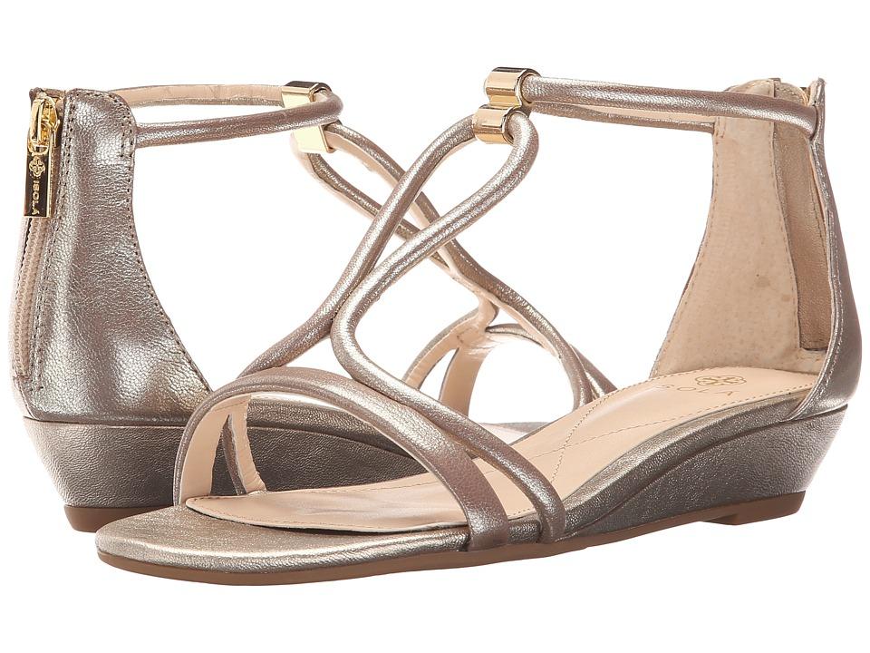Isola Elin Soft Gold Grid Metallic Womens Wedge Shoes