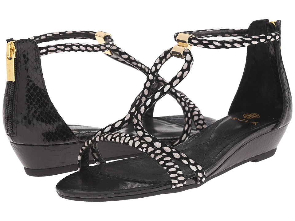 Isola Elin Black/White/Black Snake Print Womens Wedge Shoes
