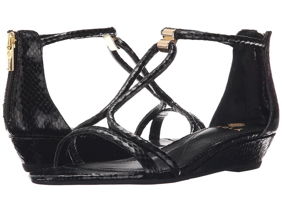 Isola Elin Black Snake Print Womens Wedge Shoes
