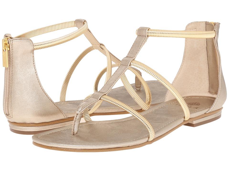 Isola Markita Satin Gold Grid Metallic Womens Sandals