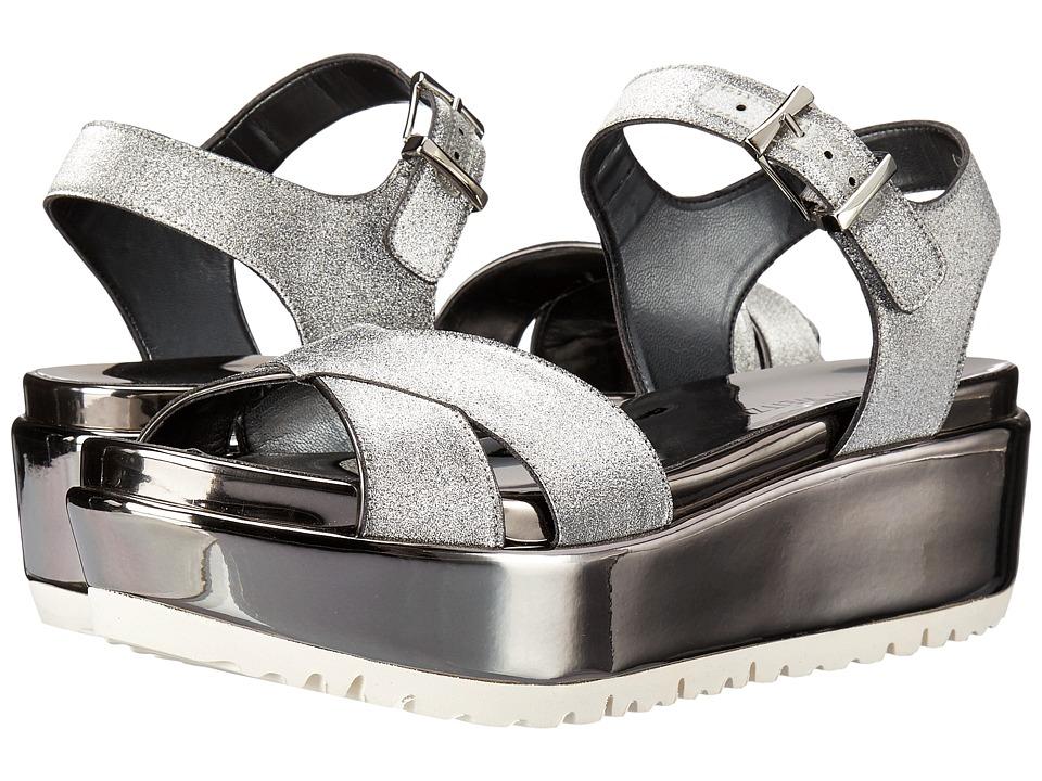 Stuart Weitzman Crosspath Pewter Glitterati Womens Shoes