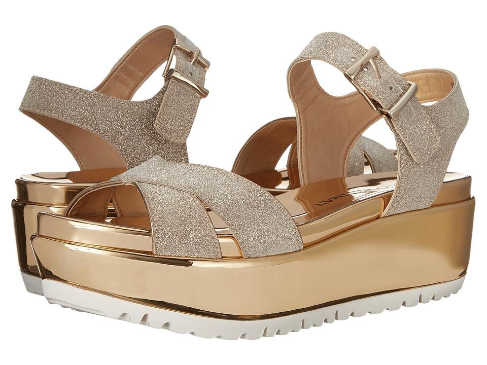 Stuart Weitzman Crosspath Dark Gold Glitterati Womens Shoes