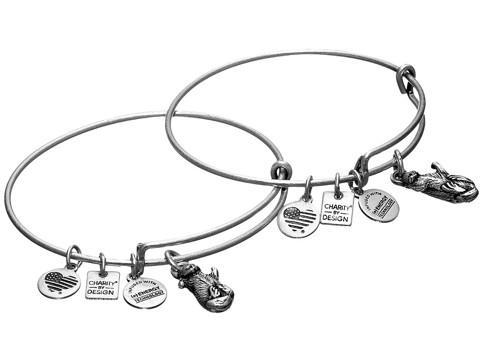 Alex and Ani - Charity by Design Side by Side Set of 2 Expandable Wire Bangles (Shiny Silver) Bracelet