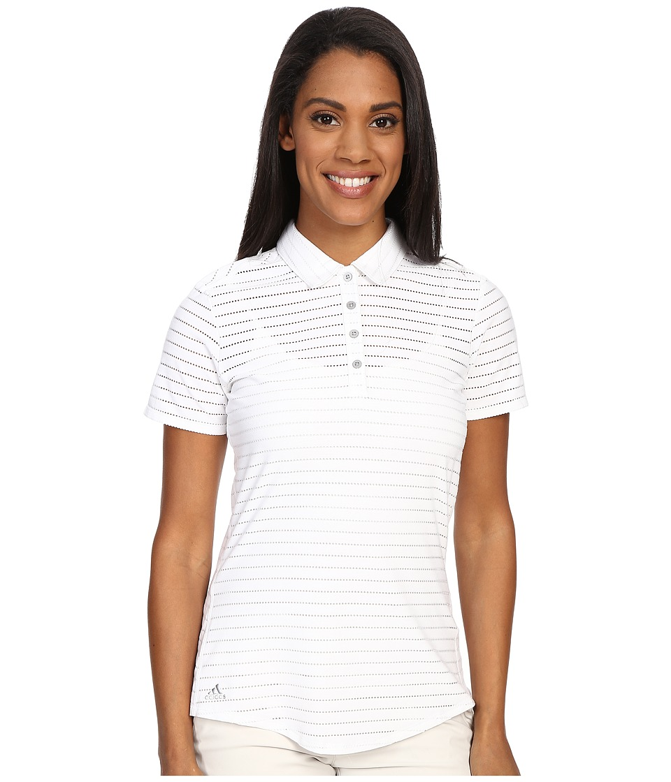 adidas Golf Cottonhand Stripe Polo White/White Womens Short Sleeve Button Up