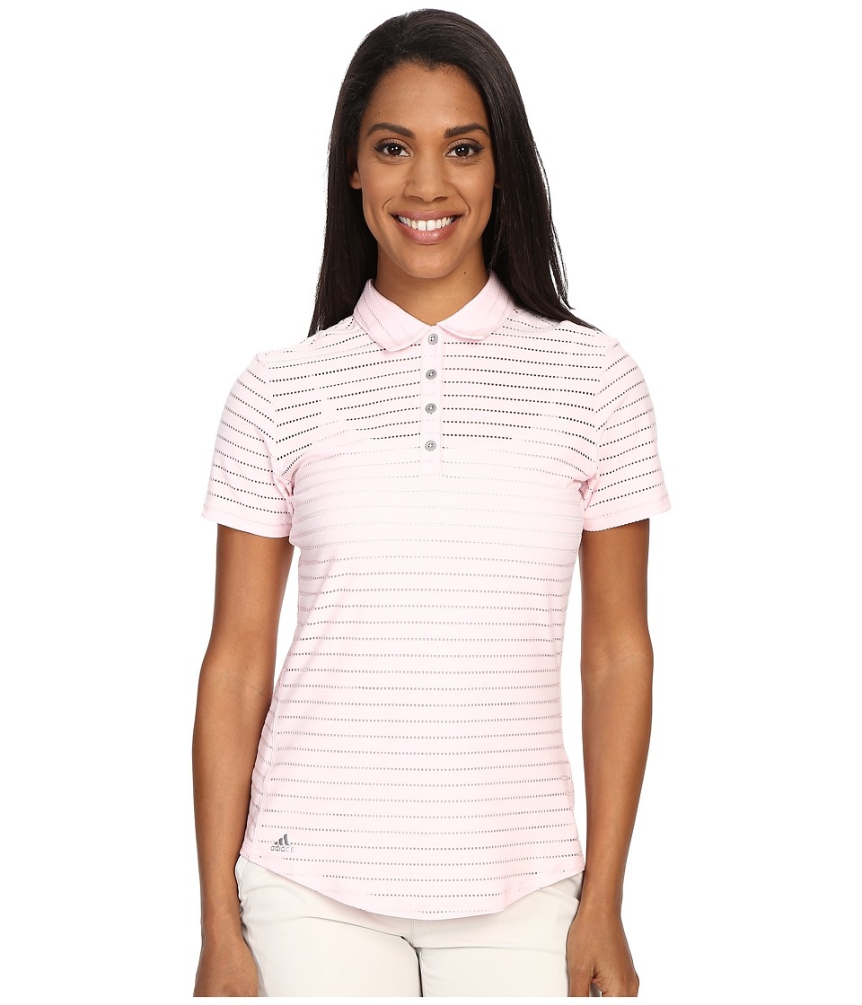 adidas Golf Cottonhand Stripe Polo Blushing Pink/Blush Pink Heather Womens Short Sleeve Button Up