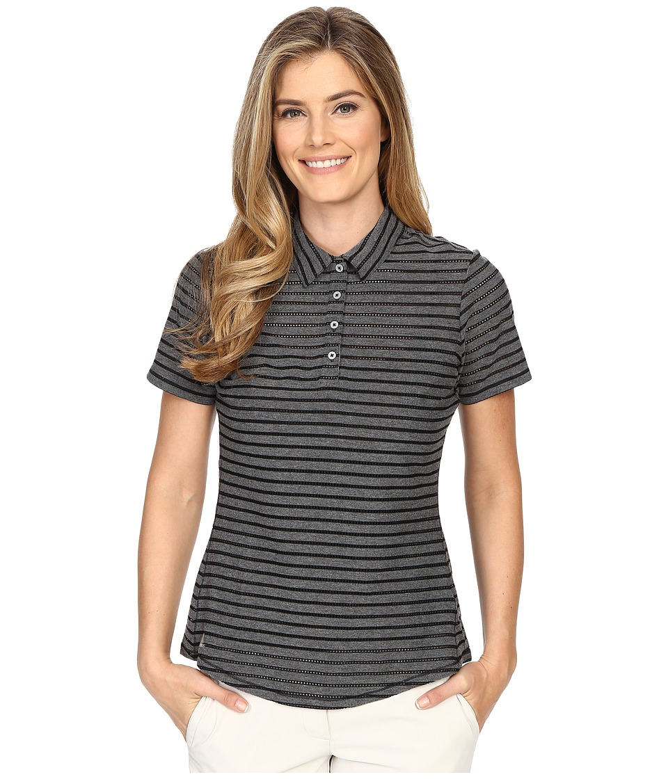 adidas Golf Cottonhand Stripe Polo Black/Black Heather Womens Short Sleeve Button Up